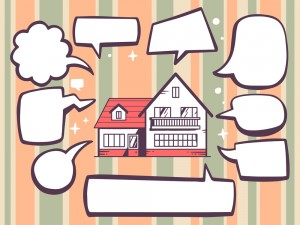 Vector illustration of home with speech comics bubbles on color